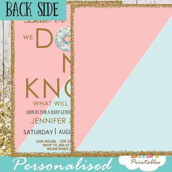 blue or pink donut gender reveal invitations boy or girl ideas