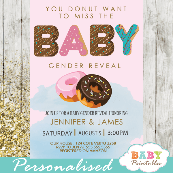 he or she donut gender reveal invitations boy or girl pink or blue
