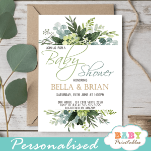 eucalyptus greenery baby shower invitations lush leaves
