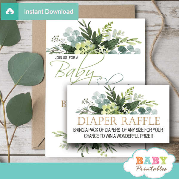 eucalyptus greenery diaper raffle tickets tropical foliage gender neutral prize