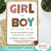 donut girl or boy gender reveal invitations he or she doughnut theme