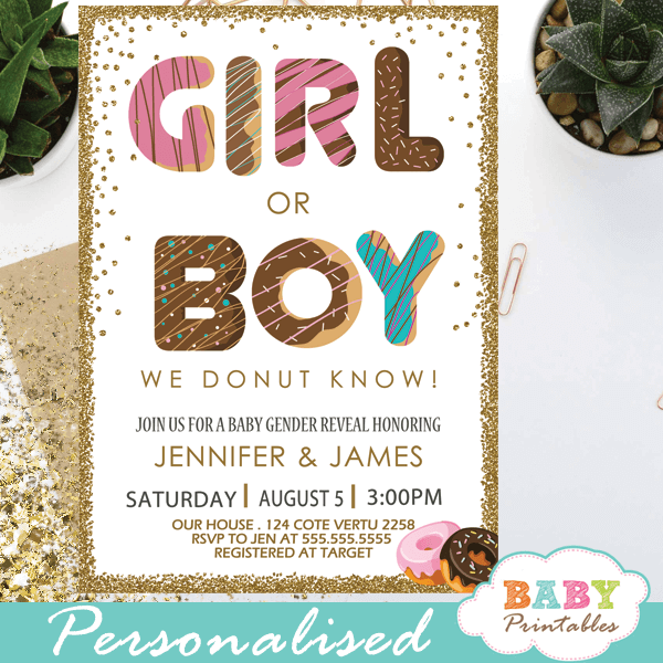 donut girl or boy gender reveal invitations he or she doughnut theme