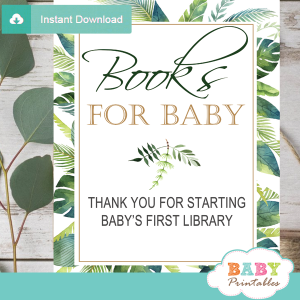 books for baby table signs greenery tropical baby shower