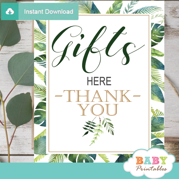 gifts here table signs greenery tropical baby shower