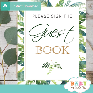 guest book table signs greenery tropical baby shower
