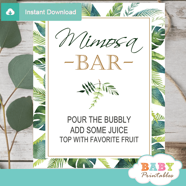 mimosa bar table signs greenery tropical baby shower