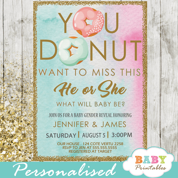 he or she gender reveal invitations donut theme pink or blue boy or girl