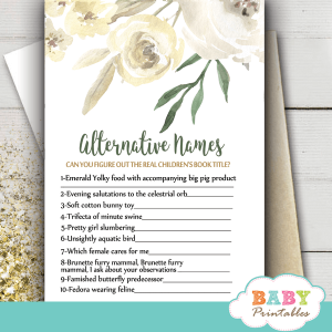 watercolor ivory white peony baby shower games spring garden theme alternative names