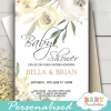 floral ivory white peony baby shower invitations spring flowers greenery gender neutral theme