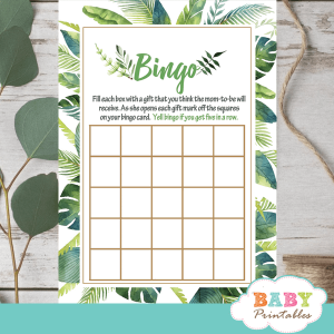 greenery tropical baby shower games palm leaves luau Hawaiian summer theme ideas