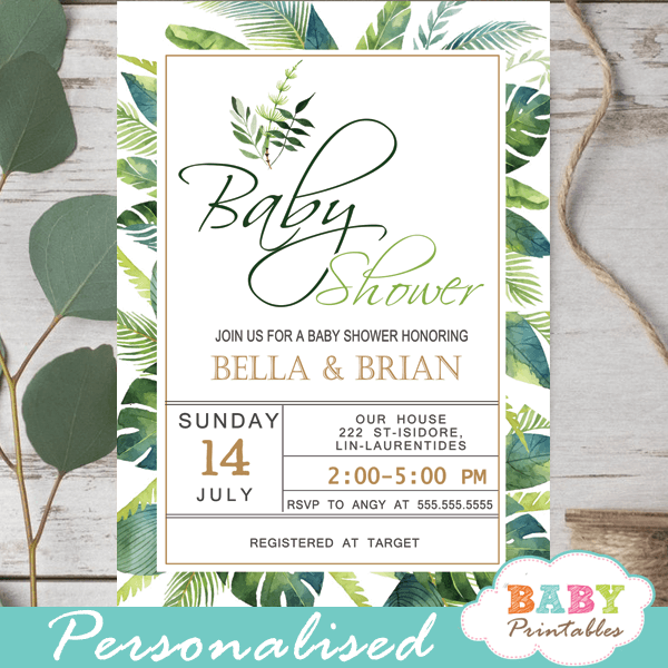 palm leaf greenery tropical baby shower invitations Hawaiian luau green leaves
