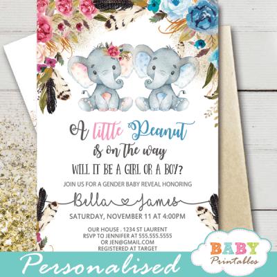 boho floral elephant gender reveal invitations blue pink boy girl