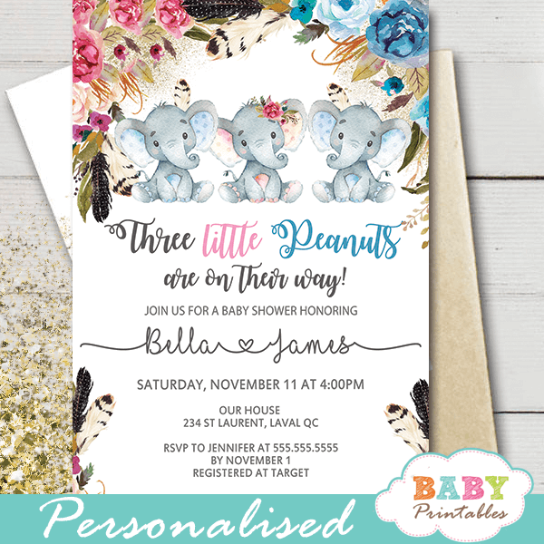 elephant baby shower invitations for twins triplets boho floral pink blue