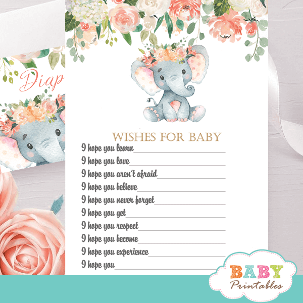 floral coral cream elephant baby shower games fun ideas