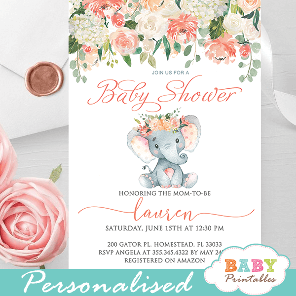 coral cream elephant baby shower invitations gender neutral peach theme