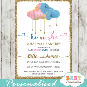 cloud rain drops gender reveal invitations he or she gold pink blue