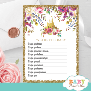 pink gold princess baby shower games floral castle