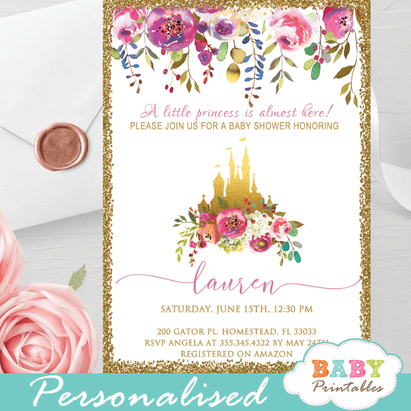 floral pink gold princess baby shower invitations girl castle