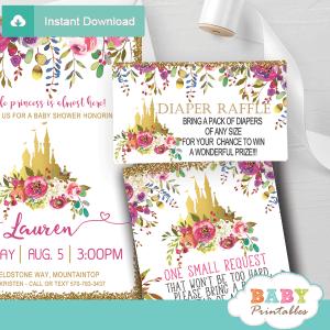 floral pink gold princess diaper raffle tickets