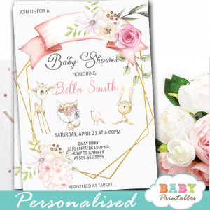 geometric floral woodland baby shower invites forest animals girl theme