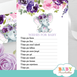 pink purple lavender roses floral elephant baby shower games girl