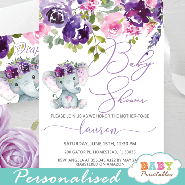 pinp purple lavender roses elephant baby shower invites girl floral