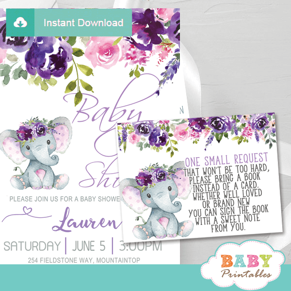 lavender roses elephant book request cards floral invitation inserts floral pink purple