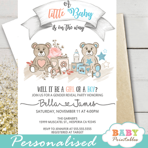 teddy bear gender reveal invitations boy or girl toys
