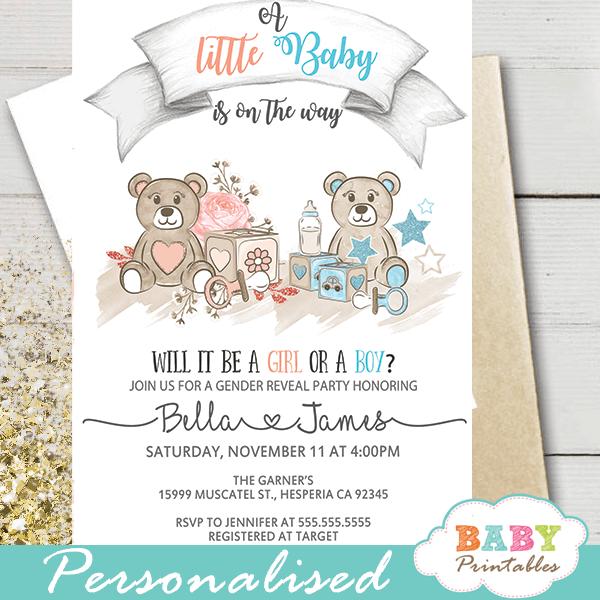 teddy bear gender reveal invitations boy or girl toys