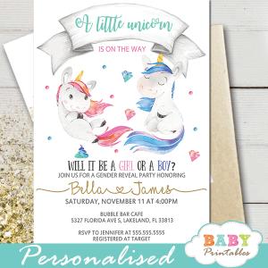 boy or girl unicorn gender reveal invitations pink or blue