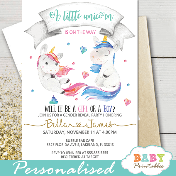 boy or girl unicorn gender reveal invitations pink or blue