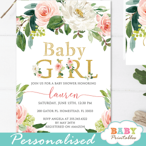 blush white flowers baby shower invitations girl peonies roses