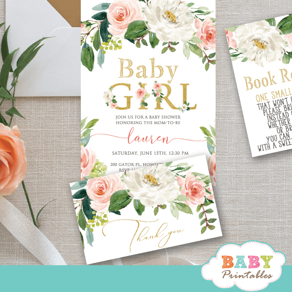 blush white flowers thank you cards baby shower