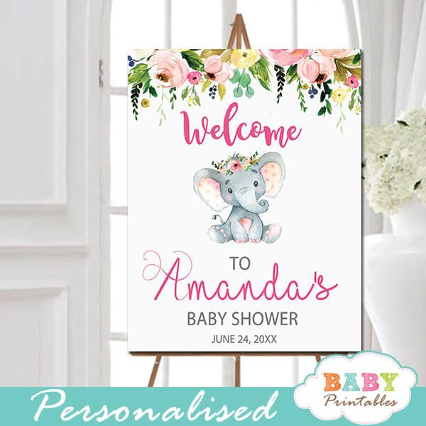 little peanut elephant baby shower welcome sign yard outside ideas pink floral girl