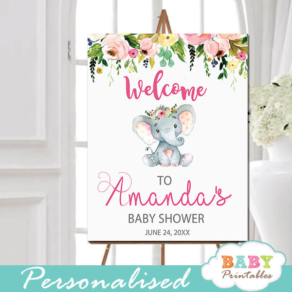 Pink Floral Elephant Baby Shower Signs D431 Baby Printables