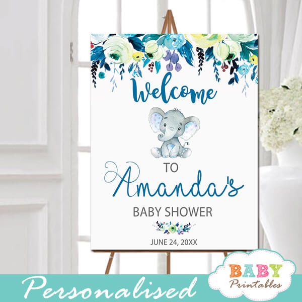 little peanut elephant baby shower welcome sign yard outside ideas teal blue boy