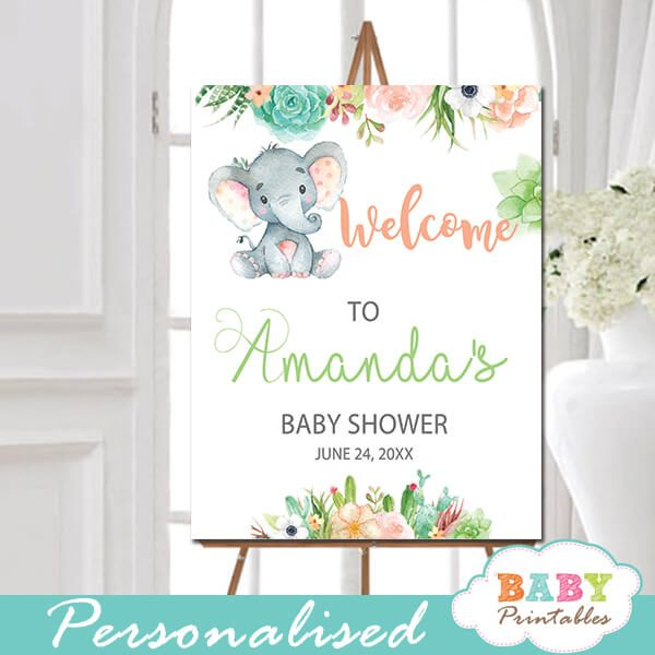 little peanut elephant baby shower welcome sign yard outside ideas floral succulent welcome