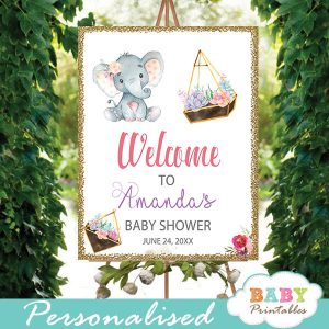little peanut elephant baby shower welcome sign yard outside signs ideas floral succulent terrarium