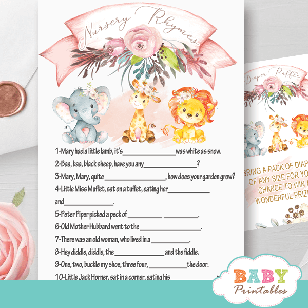 blush pink safari baby shower games nursery rhyme jungle animals