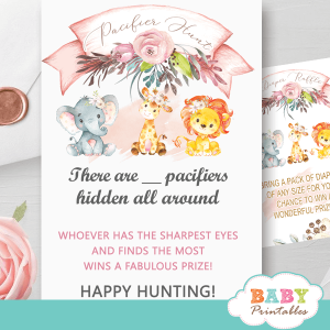blush pink safari baby shower games pacifier hunt jungle animals