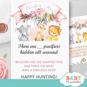 blush pink safari baby shower games pacifier hunt jungle animals