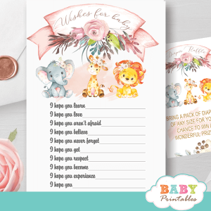 blush pink safari baby shower games wishes for baby jungle animals