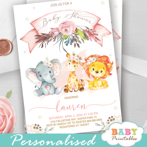 floral blush gold pink safari baby shower invitations wild animals