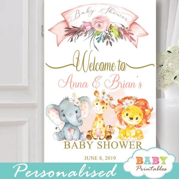 blush pink safari baby shower signs jungle animals