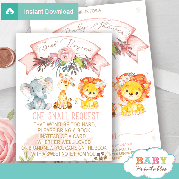 blush pink safari book request cards jungle animals invitation inserts