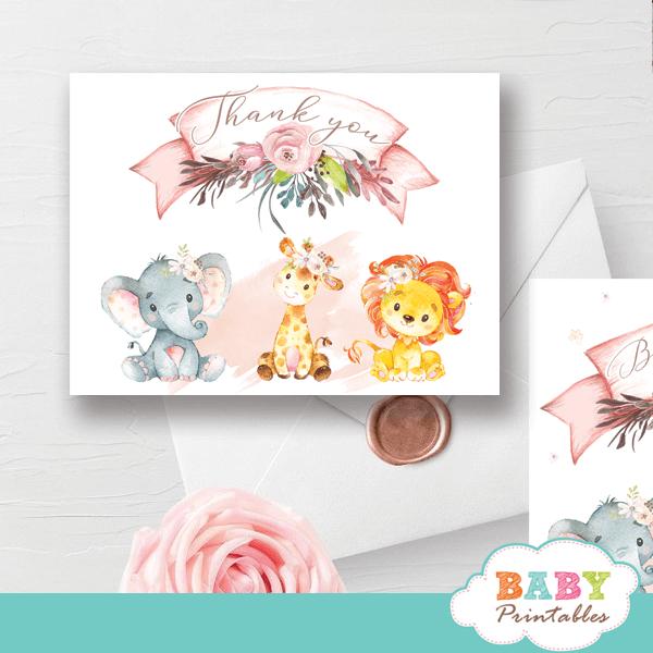 blush pink safari thank you card jungle animals baby shower