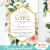 gold geometric frame blush white flowers baby shower invitations girl green foliage