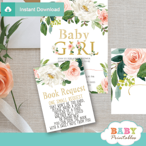blush white flowers book request cards for baby