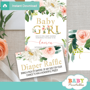 blush white flowers diaper raffle tickets prize drawing ideas