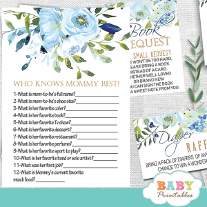 blue roses baby shower games floral boy